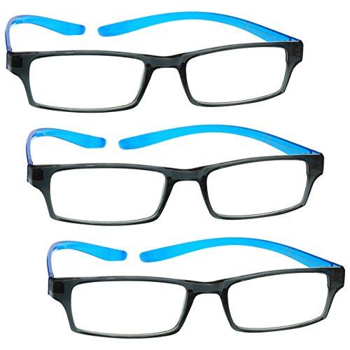 UV Reader Schwarz Leuchtend Blauen Nacken-Specs Lesebrille 3er-Pack Frauen Herren Mit Etui UVR3PK020 Dioptrien +1,50