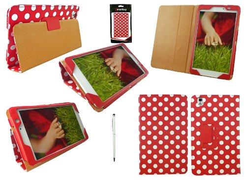 Emartbuy® Samsung Galaxy Tab Pro 8.4 Zoll Tablet (T320 T321 T325) Weiß Function Eingabestift + Polka Dots Rot/Weiß Wallet Etui Hülle Case Cover mit Ständer