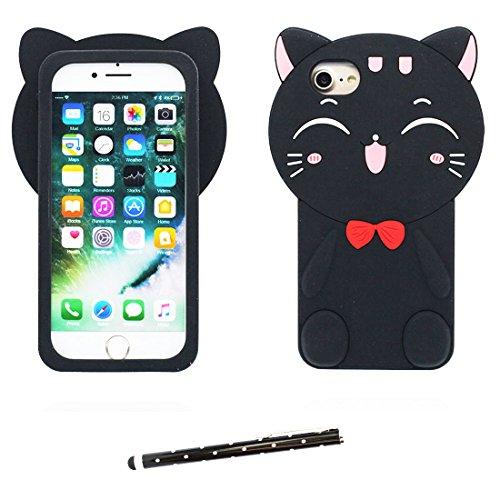 """iPhone 6 Plus Coque, Étui Cover pour iPhone 6s Plus 5.5"""" Cartoon 3D poulet chick en Gel TPU iPhone 6 Plus Case (5.5"""") Résistant à la poussière Scratch et stylet Noir"""