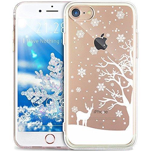 ikasus Kompatibel für Hülle iPhone 6S/6 Hülle,Durchsichtig mit Xmas Christmas Snowflake Weihnachten Schneeflocke Hirsch Muster Klar TPU Silikon Handyhülle Schutzhülle,WeißenSchneeflockeHirsch