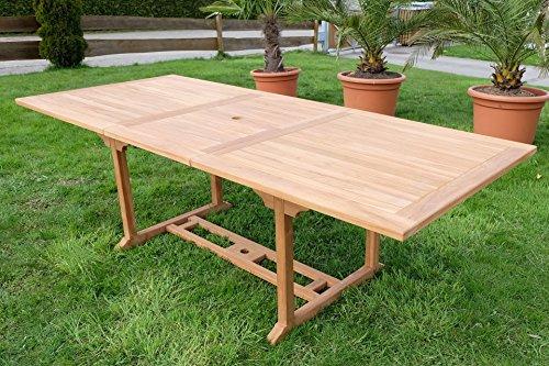 TEAK XXL Ausziehtisch Holztisch Gartentisch Garten Tisch L: 180/240cm B: 100cm Gartenmöbel Holz geölt sehr robust Modell: TOBAGO von...