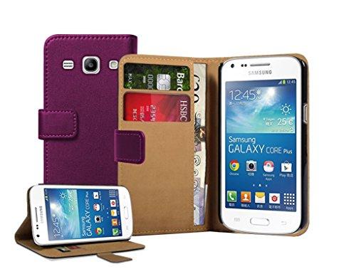 Membrane - Lila Brieftasche Klapptasche Hülle kompatibel mit Samsung Galaxy Core Plus (GT-G3500 / SM-G350 / G3502 / Trend 3) + 2 Displayschutzfolie (Etui Samsung Galaxy Core 2)