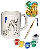 Unbekannt Bastelset: große Henkeltasse -  Giraffe  - zum selbst Bemalen - groß - Keramik / Porzellan - 300 ml - Set mit 6 Farben & Pinsel - Trinktasse mit Henkel - TA..