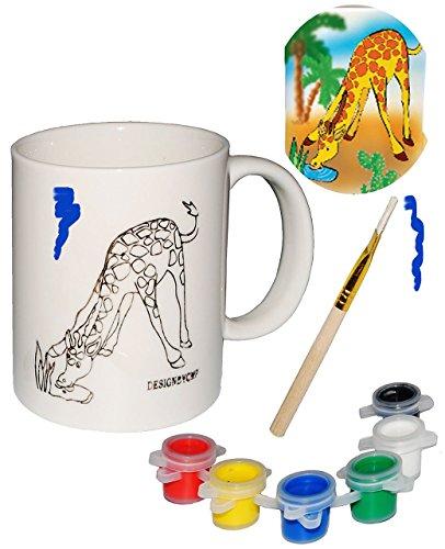 Bastelset: große Henkeltasse - ' Giraffe ' - zum selbst Bemalen - groß - Keramik / Porzellan - 300...