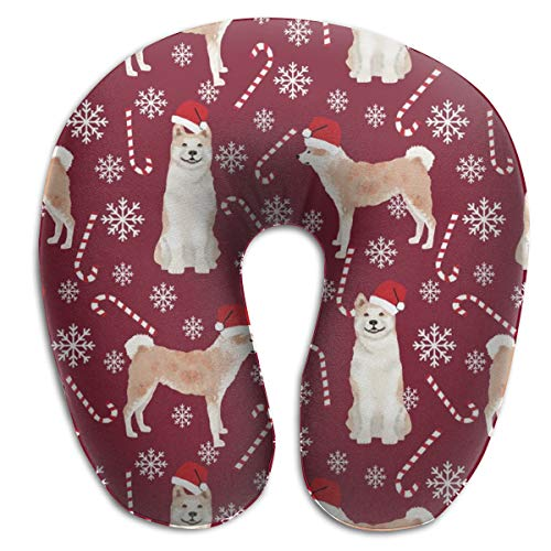 Travel Pillow,Akita Dog Breed Peppermint Sticks Candy Canes Ruby Memory Foam U Neck Pillow for Lightweight Support In Airplane,Car,Train,Bus Miss Candy Cane