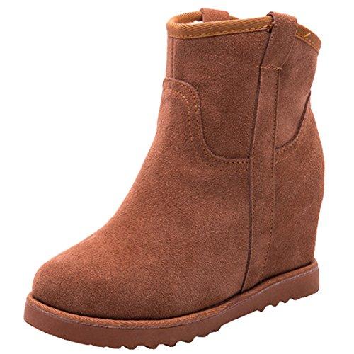 Oasap Femme Boots Bout Rond Couleur Pure Talons Compensés Wedge Bottes Chaussure Montantes Wedge Bottes Chaussure Montantes