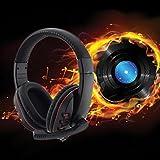 LESHP Gaming Headset Auriculares de Video Juegos para PC con Micrófono Gaming Headset con Cable Control del Volumen y una Tocla-Mute (Negro Oscuro)