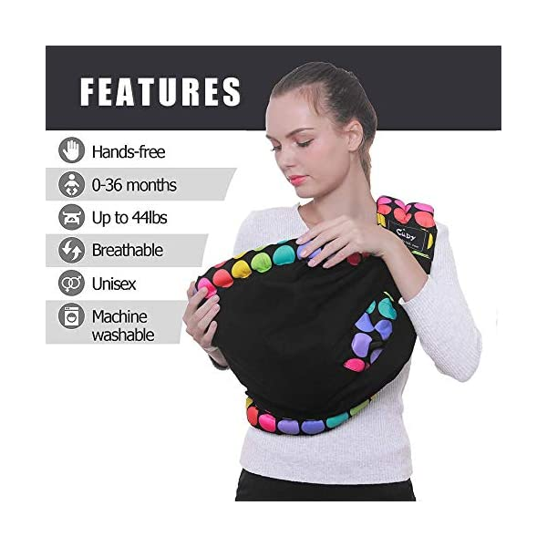 Cuby Baby Slings Carrier for Newborns and Breastfeeding (Black Dot) CUBY Durable Weight Baby Sling:Designed to carry babies who are 0 to 36 months old and weighing no more than 44 pounds. Five Different Carrying Positions: Including two perfect and convenient for breastfeeding. Cuby's baby carrier allows you to carry your baby in the same position they used in the womb, gives your baby a familiar sense of security and makes it easy for you to enjoy eye contact to bond with your new bundle of joy. Premium Cotton: The baby carrier by Cuby is made of 100% high quality cotton. It is soft, skin-friendly and breathable. 4