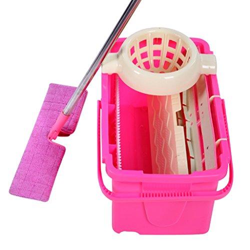 Multi-funzione rotante piatto Mop due lati lavaggio a mano Mop Mop Set benna ( colore : Rosa )