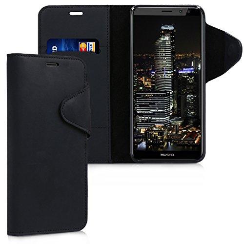 kalibri-Hlle-fr-Huawei-Mate-10-Lite-Echtleder-Wallet-Case-Schutzhlle-mit-Fach-und-Stnder-in-Schwarz