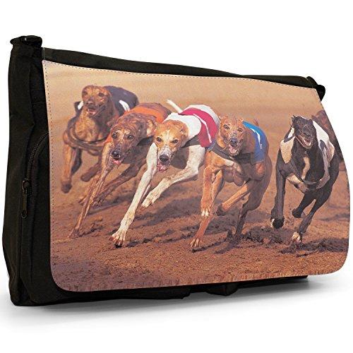 Fancy A Bag Borsa Messenger nero Diva Grey Hound Dog Grey Hound Dogs Racing