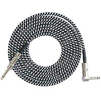 BFHCVDF Mono Jack Guitar Cable Audio Male to Male Cable Wire Cord 6.35mm Straight Plug Black&White