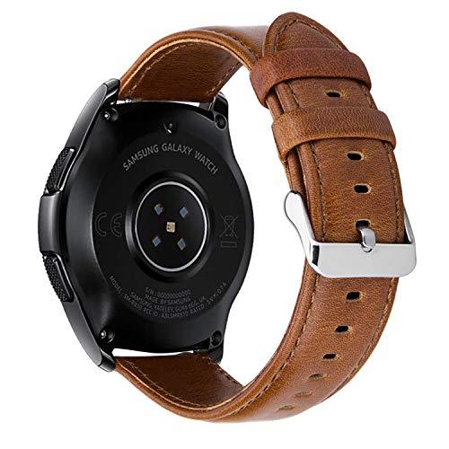 MroTech 20mm Cinturino di Ricambio per Huawei Watch 2 Cinturino in Pelle Vintage Compatibile per Samsung Gear Sport, S2 Classic, Galaxy Watch 42mm, Ticwatch e, Amazfit Bip 20 mm Bracciale (Marrone)