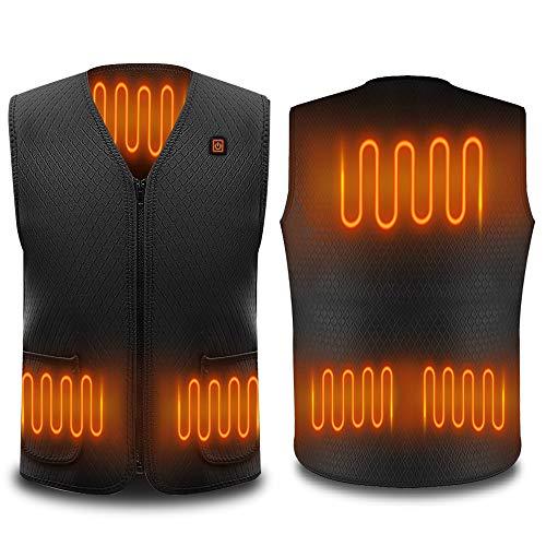 Beheizte Weste, Intelligentes Elektrische Beheizte Jacke USB-Lade Heizweste für Herren Damen, Warme Heat Jacke mit 3 Fakultativ Temperatur für Outdoor-Aktivitäten Wandern Jagd Motorrad Camp