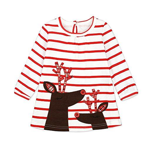 Riou Weihnachten Baby Kleidung Set Pullover Outfits Winteranzug Kinder Baby Mädchen Deer Gestreifte Prinzessin Kleid Weihnachten Outfits Kleidung (120, Weiß) (Weißes Kleid Weihnachten Kostüm)