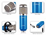 #7: Juârez MC-668 Professional Studio Condenser Microphone Mic Set for Dynamic Sound Recording & Broadcasting, with Shock Mount, XLR Cable and Anti-wind Foam Cap, Blue