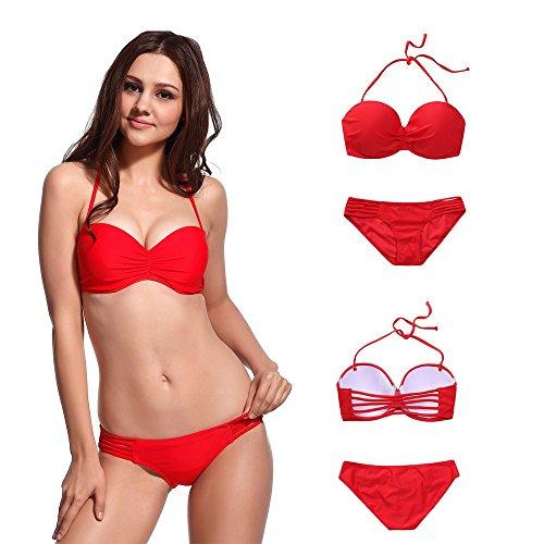 MissTalk Damen Neckholder geraffter Vorderseite gebänderten Design Klassische bikiniset Top und Hose Swimwear Rot