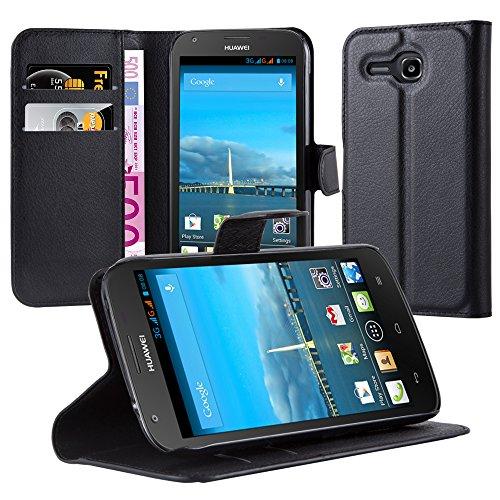 Cadorabo Hülle für Huawei Ascend Y600 Hülle in Phantom schwarz Handyhülle mit Kartenfach und Standfunktion Case Cover Schutzhülle Etui Tasche Book Klapp Style Phantom-Schwarz