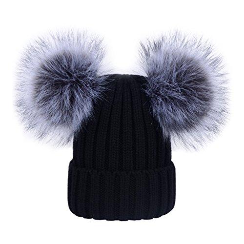 YoungSoul Bonnets femme chaud hiver - Bonnet tricot côtelé avec amovible deux pompons en fausse fourrure Noir