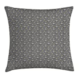 RAINNY Cat Throw Pillow Cushion Cover, Grey Pattern with Hand Drawn Kitties and Doodle Details Pet Lover Theme, Decorative Square Accent Pillow Case, 18 X 18 Inches, Grey Pale Orange Black