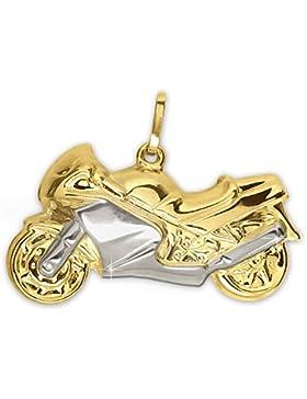 CLEVER SCHMUCK Goldener Anhänger großes Motorrad bicolor, beidseitig plastisch und glänzend 333 GOLD 8 KARAT im...