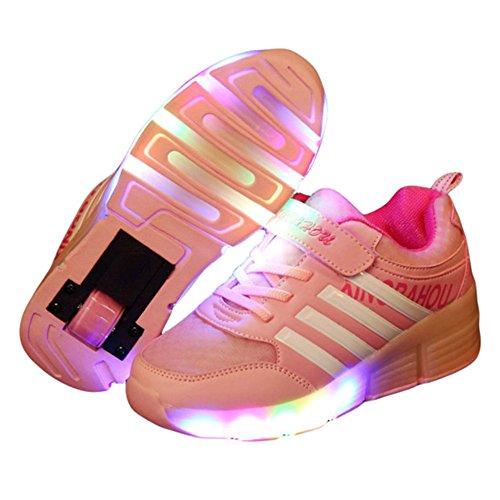 CICI New Kind Junior Girls Boys LED Light Sneakers Roller Skate Schuhe Für Kinder Kinder Turnschuhe mit Rädern Rosa