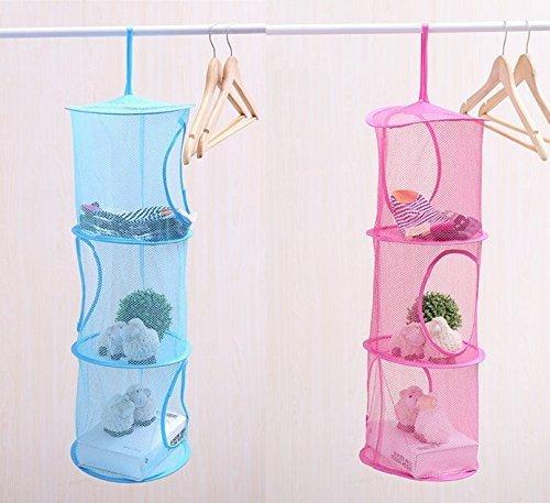 Colgante de malla de ahorro de espacio de bolsos organizador 3 compartimientos de juguete de almacenamiento de la cesta de los niños de la organización de la sala de malla colgante bolsa 2 piezas conjunto, rojo y azul