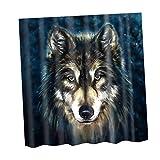 Sharplace 180x180cm Natural Print Shower Curtain Bathroom Fabric Hanging Sheer Divider - Wolf, 180x180cm
