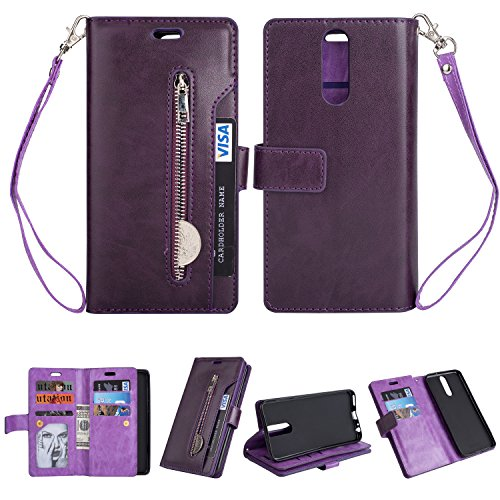 Huawei Mate 10 Lite Case Hülle, KANTAS Brieftasche Flip Case Geldbörse mit 9 Kartenfächer PU Leder Handyhülle, Huawei Mate 10 Lite Taschenhülle Wallet Ledertasche mit Magnet Standfunktion Geldbeutel Schutzhülle mat Handseil, Lila