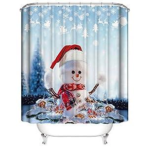 NIBESSER Duschvorhang Weihnachten Schneemann 180x180 Duschvorhang-Anti-Schimmel-Wasserabweisend-Duschvorhangringen 12 Shower Curtain mit 3D Digitaldruck(Weihnachten 10 180 * 180)