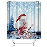laamei' Cortina de Ducha Impermeable de Baño 3D Digital Impresión Cortinas de Baño Tema Navidad Decorativa Infantil de Poliéster Resistente al Moho con Ganchos 180x180cm...