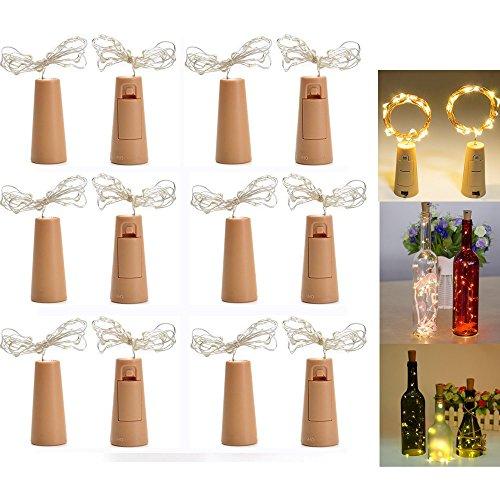 LED Flaschenlicht Stimmungslichter, 12 Stück LED Flaschenlicht Licht, 200cm Licht mit 20 Warmweiß LEDs Lichterkette, Ideal für Flasche DIY, Party, Weihnachten, Halloween, ()