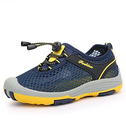 Myaikku Mesh Sommer Schuhe Geschlossene Sandalen Strandschuhe Flach Rutschfest Sneaker Mädchen Jungen Kinderschuhe,Dunkelblau,eu 32