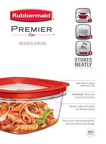 3 Cup Container (Rubbermaid Premier Food Storage Container, 5-Cup (Pack of 3) by Rubbermaid)