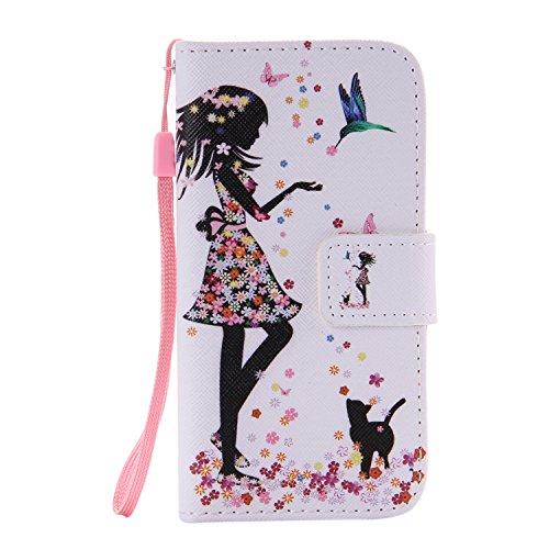 ISAKEN Kompatibel mit Galaxy S5 Mini Hülle, PU Leder Flip Cover Brieftasche Geldbörse Handyhülle Tasche Case Schutzhülle mit Handschlaufe Standfunktion für Samsung Galaxy S5 Mini - Mädchen Katze -