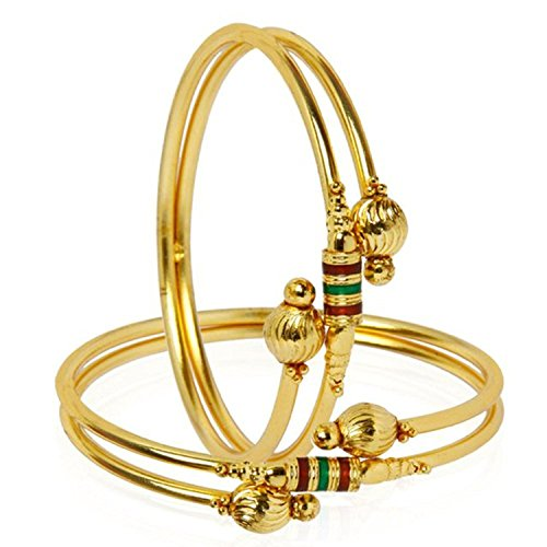 YouBella Jewellery Traditional Gold Plated Bracelet Bangle Set For Girls and Women (2.6)