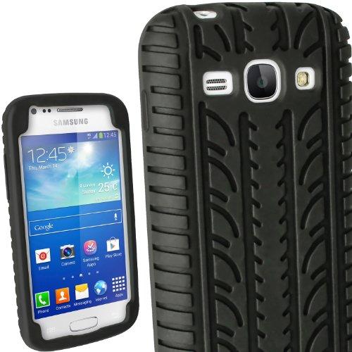 igadgitz Schwarz Silikon Skin Tasche Hülle Etui Case Cover mit Reifenprofil Reifen Profil für Samsung Galaxy Ace 3 GT-S7275 GT-S7270 GT-S7272 3G LTE Android Jellybean 4.2 Smartphone Mobile Phone + Displayschutzfolie (nicht geeignet für andere Samsung modele)