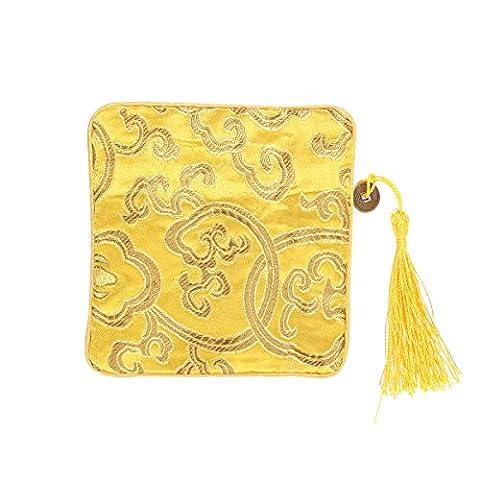 OULII Sac en trousse chinoise en soie Sac à monnaie Brocade brodé Tassel Zipper Wallet (Bright Yellow)
