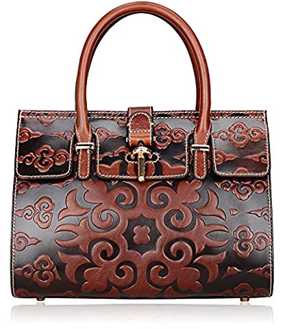 Pijushi Classic Ladies Embossed Floral Leather Tote Satchel Top Handle Handbags U65098 (brown clouds floral)