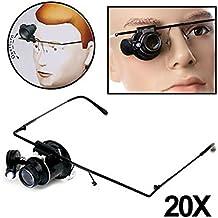 CURSONLINE® GAFAS DE LENTE MICROSCOPIO MONOCULAR 20 X LUZ LED