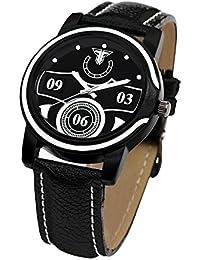 TRAKTIME NEW EDGE Black & White Tone Analogue Wrist Watch For Men With Leather Strap