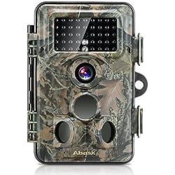 Cámara de Caza,Abask Trail Cámara 1080P HD Impermeable IP66 con Infrarrojos PIR Sensor de Movimiento con Lapso de Tiempo 65ft 120 °Gran Angular Visión Nocturna de Caza para Hogar Vigilancia & Caza