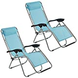 Zero Gravity Chair Recliner Chair with padded Cushion Headrest Folding for Outdoor use Camping, Beach as Reclining Sun Lounger, Deck Chair (Pack of 2, Blue)
