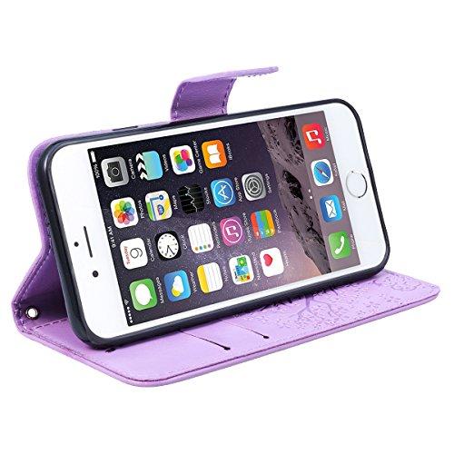 GrandEver iPhone 6 Plus / 6S Plus Ledertasche Hülle Schutzhülle Eule und Baum Retro Tasche Lederhülle mit Handschlaufe Scratch Ledercase Schale Umschlag Stil Flip Wallet Case Cover mit Weiche Silikon  Lila