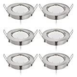 Lot de 6 Spots LED Encastrable 6x5W 450Lm, Orientable/Dimmable, Ultra Plat Rond 220V, Naturweiß 4000K, 82Ra, Nickel Mat