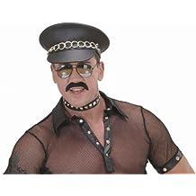 Ledermütze Rocker Vinyl Biker Mütze mit Nieten Schirmmütze Hardrock Kappe Skull