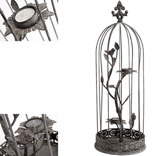 Grand Porte bougie en métal à poser Cage à oiseaux
