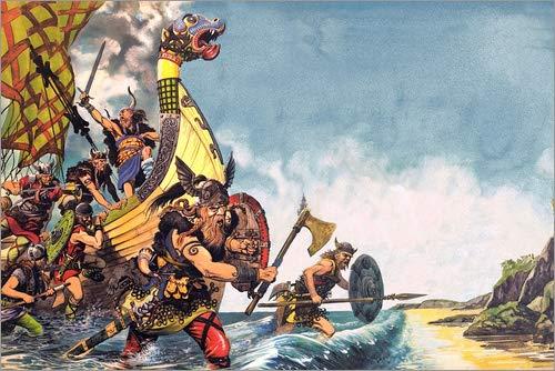 Cuadro sobre lienzo 30 x 20 cm: The Coming of the Vikings de Peter Jackson / Bridgeman Images - cuadro terminado, cuadro sobre bastidor, lámina terminada sobre lienzo auténtico, impresión en lienzo