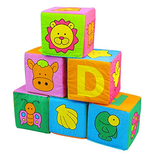 Dearmy 6 Stück einstellen Säugling Baby Stoff Weich Komisch Rassel Bausteine Ziegel Spielzeuge Kinder Beschwichtigen Frühes Lernen Intelligent Entwicklung Spielzeug Geschenk (ohne Verkauf Box)