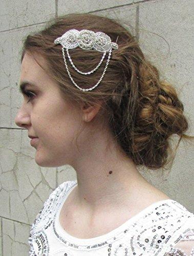 Chaîne Art Deco Argent peigne à cheveux vintage années 1920 mariage ANNÉES Gatsby Y56 * * * * * * * * exclusivement vendu par – Beauté * * * * * * * *